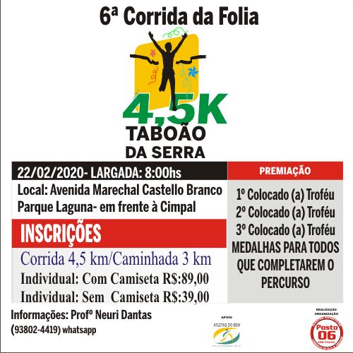 6ª CORRIDA DA FOLIA DE TABOÃO DA SERRA 2020