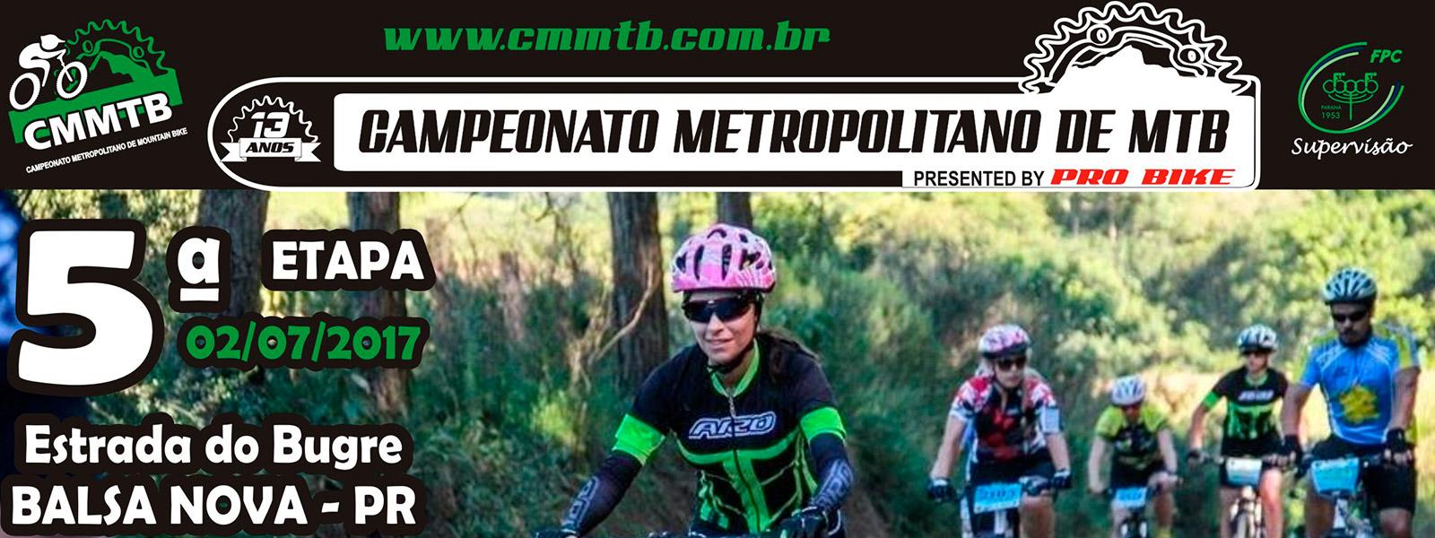 CAMPEONATO METROPOLITANO DE MOUNTAIN BIKE 2017 - 5ª ETAPA - Balsa Nova/PR - Imagem de topo