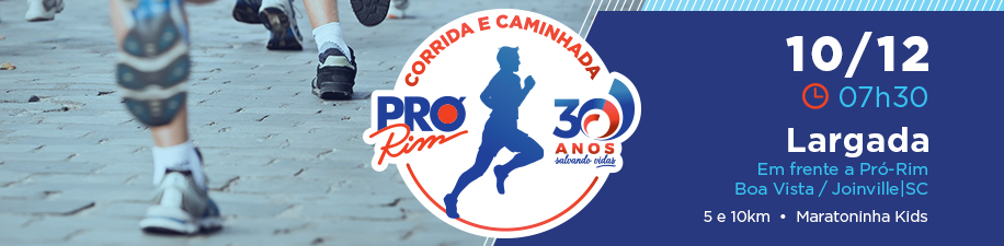 CORRIDA E CAMINHADA PRÓ-RIM 30 ANOS - Imagem de topo
